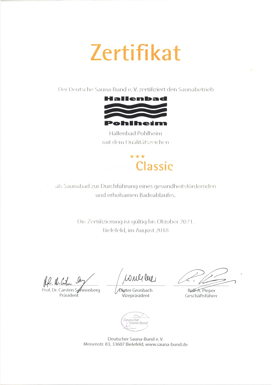 Zertifikat Sauna Classic